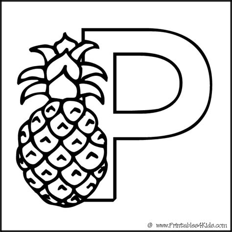 coloring book for a p the letter p coloring page