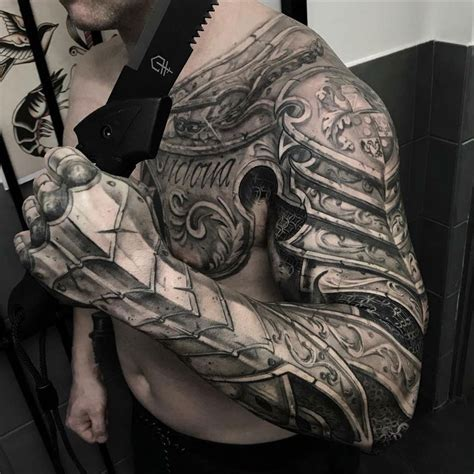 chest shoulder arm tattoo designs chest sleeve armour best design ideas