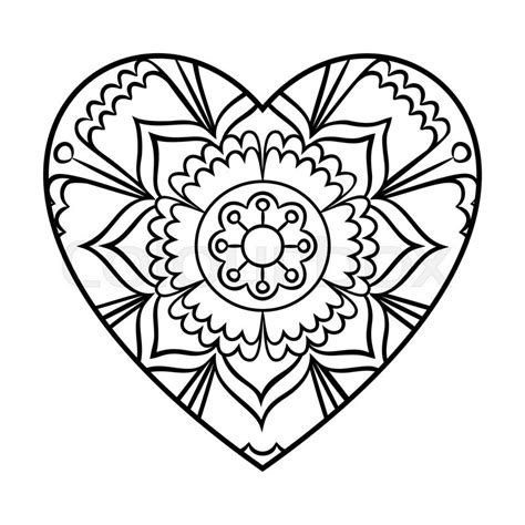 mandala coloring pages hearts doodle mandala coloring page outline floral design