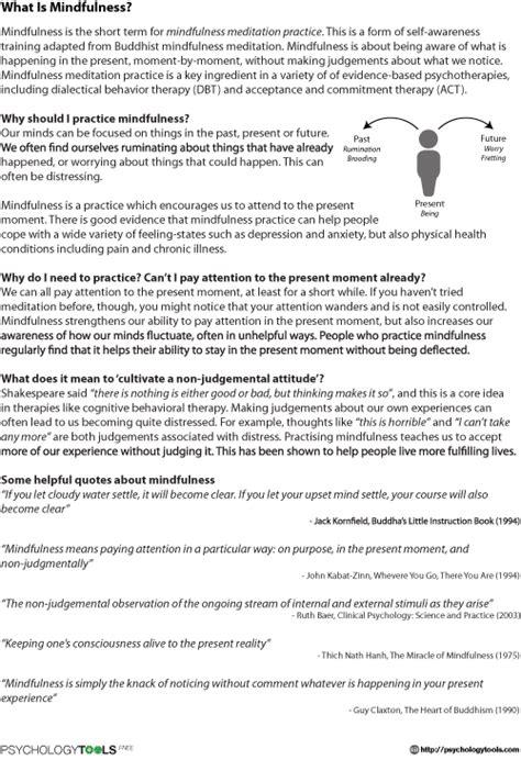 mindfulness worksheet psychology tools