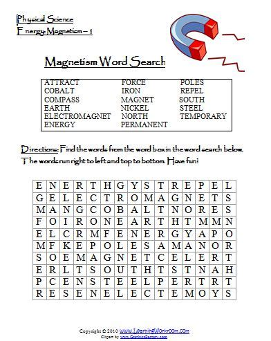 printable word search electricity learning ideas grades k 8 magnetism word search and video