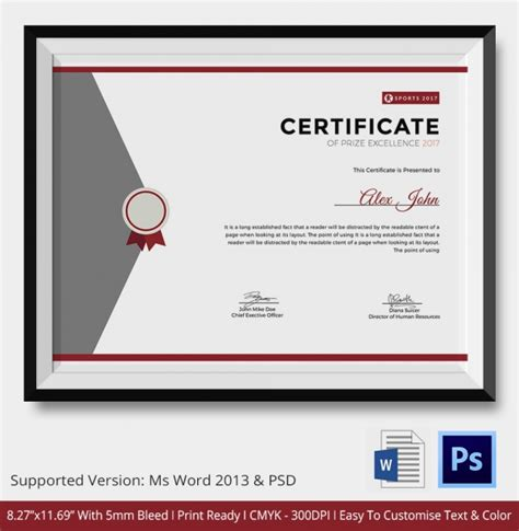 award certificate template 25 word pdf psd format