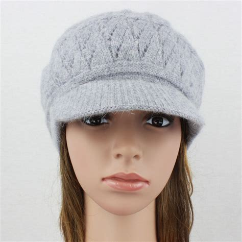 knit cap with brim angora knit hat brim baggy slouchy crocheted newsboy