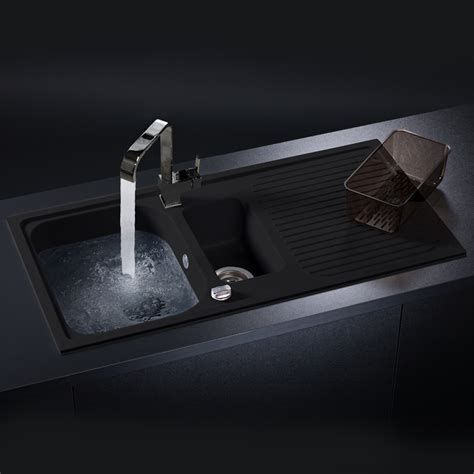 black kitchen sink schock lithos d150 1 5 bowl granite nero black kitchen