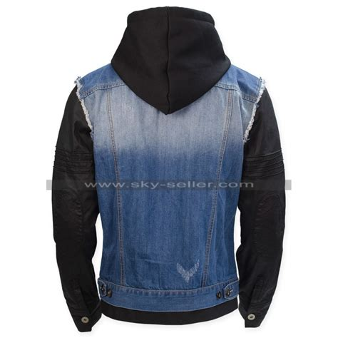 Jaket Bloods Denim t bone grady dogs bad blood denim leather jacket