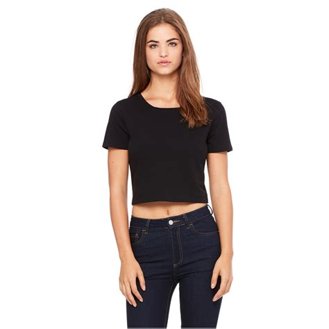 Ibbie Crop Top Black Xs canvas womens poly cotton crop t shirt 6681 black