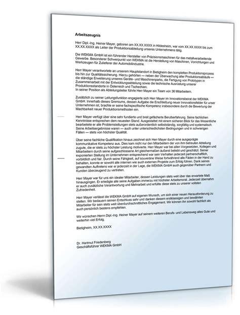 Vorlagen Muster Arbeitszeugnis Arbeitszeugnis F 252 Hrungskraft Note Eins Zum