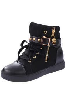 Sepatu Sneaker Skull For Wanita menggantung qiao wanita cut tinggi sepatu kets kanvas