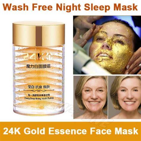 Masker Lumpur Liyanshijia 24k Active Gold Whitening Mask 24k active gold anti aging wash free sleep mask eliminate wrinkle firming skin