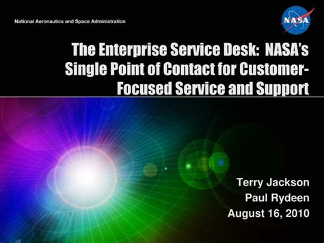 ppt the enterprise service desk nasa s single point of