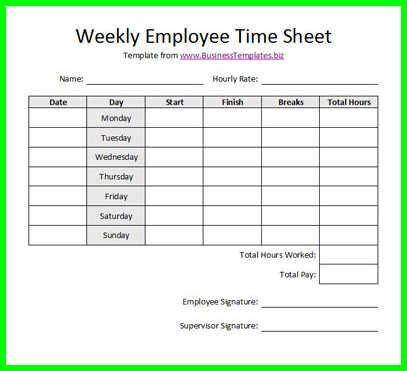 Printable Bi Weekly Timesheet Template