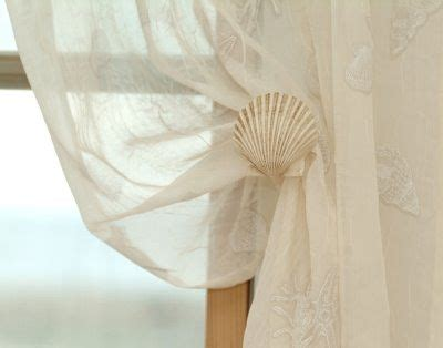 seashell sheer curtains faux seashell tie backs by donna elle design shop decor