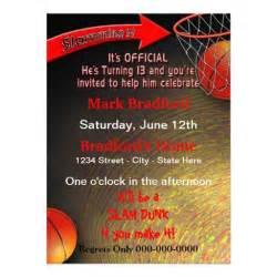 13th birthday invitation boy slam dunk