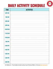 Free Printable Daily Schedule Template Free Daily Schedule Template Printable Search Results