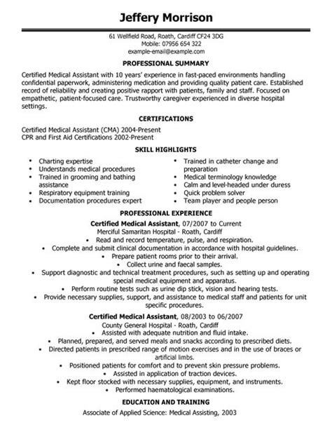medical assistant cv exle for healthcare livecareer