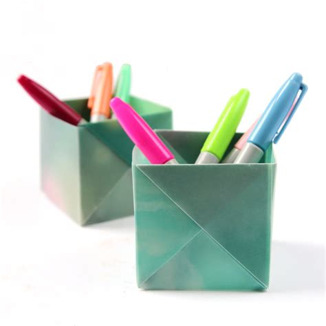 Origami Pen Stand - dress your desk in style with these origami pen holders