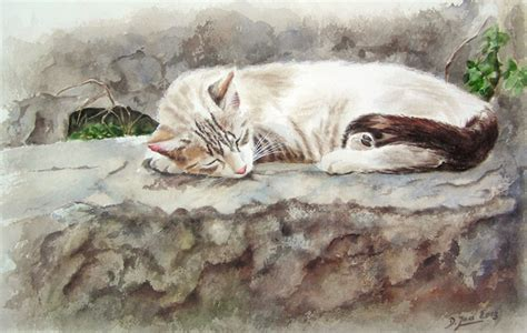 painting kitten cat paintings in watercolor cats kittens