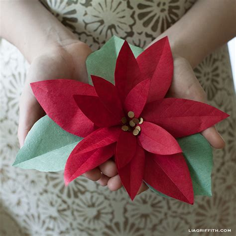 Poinsettia Paper Craft - diy paper poinsettia crafts and flowers