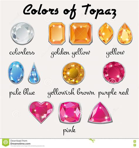 colors of topaz colors of topaz in different cuts stock vector