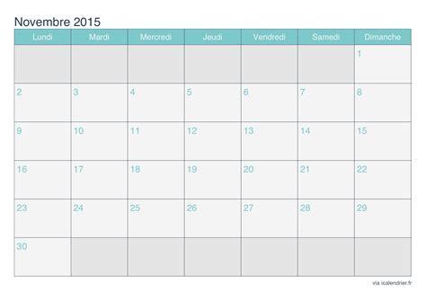 Calendrier De Novembre Calendrier Novembre 2015 224 Imprimer Icalendrier