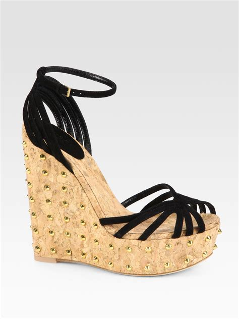 gucci suede studded cork wedge sandals in black lyst