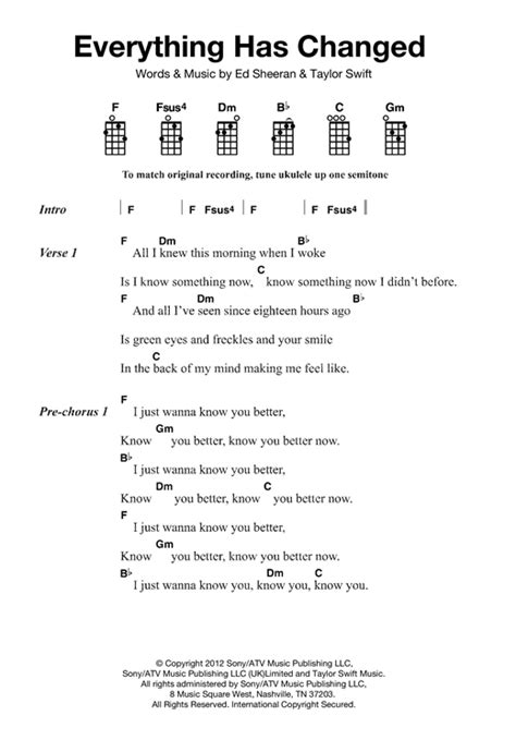 ukulele tutorial ed sheeran everything has changed sheet music by ed sheeran ukulele