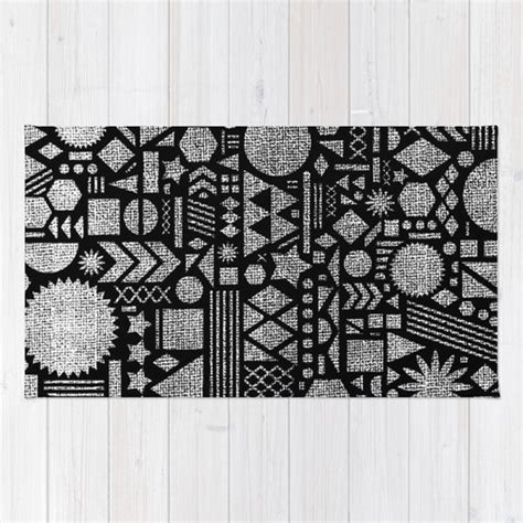 10 X 12 Black And White Geometric Rug by Modern Elements With Black Area Throw Rug Image