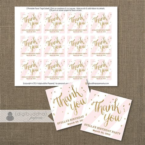 printable bridal shower thank you tags pink gold favor tags bridal shower blush pink stripe