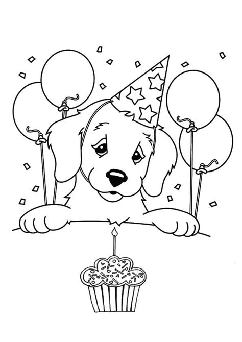 print coloring image puppy coloring pages birthday