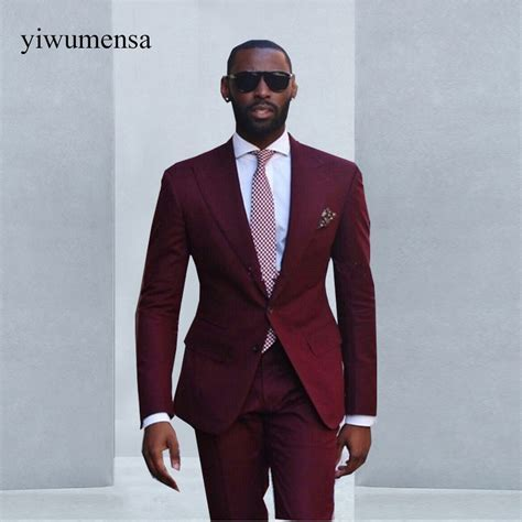 Custom made Wine Red men suit 2018 Formal Wear Mens