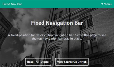 how to create a fixed navigation bar