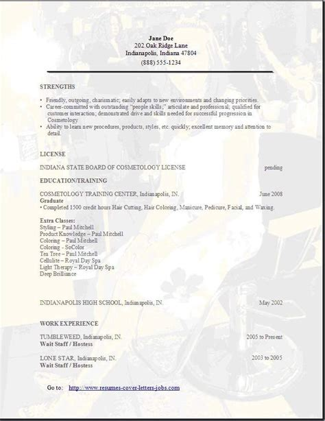 Resume For Cosmetology by Salon Cosmotology Resume Exles Sles Free Edit With Word