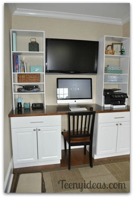 kitchen cabinet desk units diy office built ins using stock kitchen cabinets and