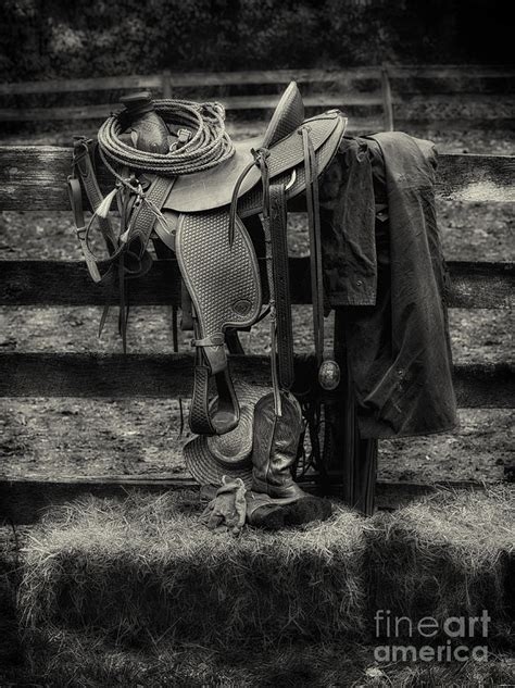 Saddle Whyte Black saddle and gear black and white photograph by jerry fornarotto