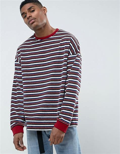 Asos Oversized Stripe T Shirt asos asos oversized sleeve t shirt in towelling and