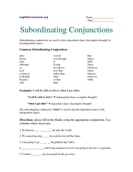 subordinating conjunctions worksheet davezan