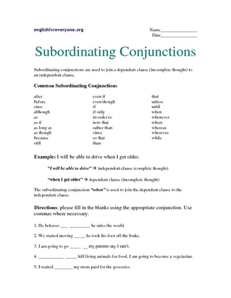 printable conjunction quiz subordinating conjunctions worksheet lesupercoin