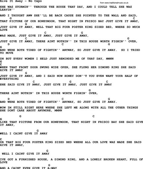 tattoo chords no capo give it away no capo by george strait lyrics and chords