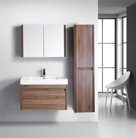 Modern Bathroom Vanities Canada Labrador Golden Elite 36 Quot Walnut Modern Wall Mount Bathroom Vanity The Vanity Store Canada