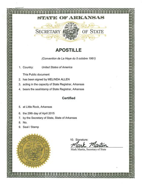 Arkansas Department Of Birth Records State Of Arkansas Apostille Apostille Service Apostille Net