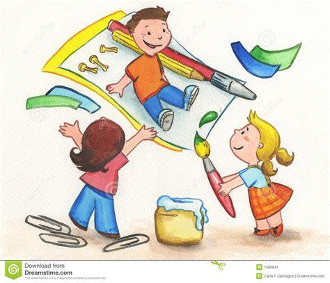 Kids Painting Stock Illustration Image Of Children Schoolboy 1580841 Children Painting Images