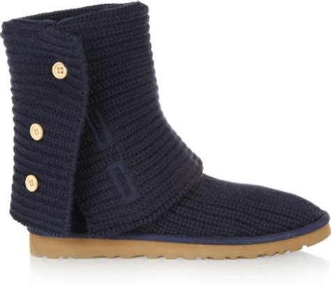 uggs knitted boots ugg classic cardy chunky knit boots in blue lyst