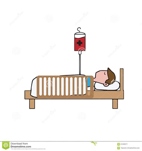 the art of comfort care man patient on bed cartoon stock vector illustration of
