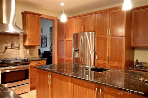 natural cherry cabinets  kitchen island pantry wall