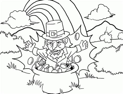 leprechaun coloring page pdf leprechaun in pot of gold coloring pages printable