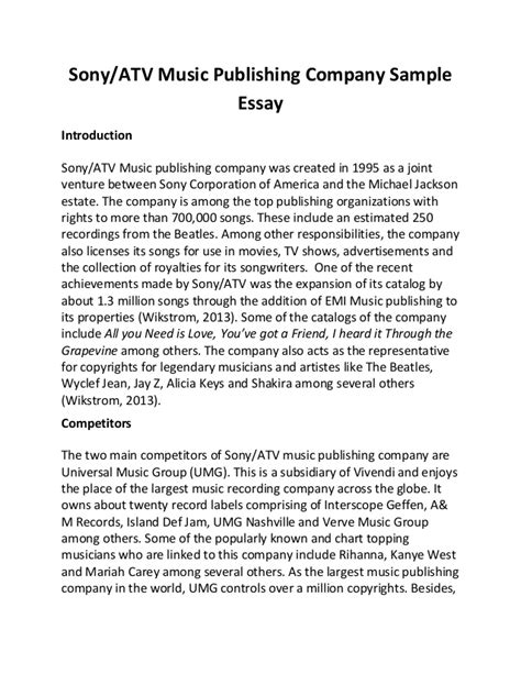 The Company Essay by Sony Atv Publishing Company Sle Essay