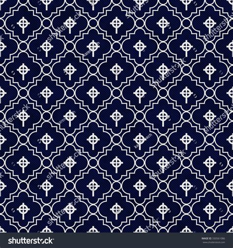 tile pattern repeat navy blue and white celtic cross symbol tile pattern