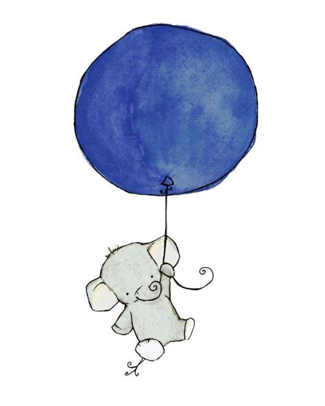Blus Balon Sabrina children s flying high elephant navy blue balloon