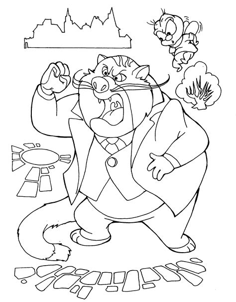 coloring page fat cat and zipper