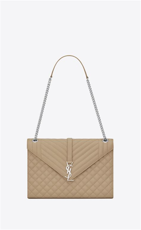 saint laurent large envelope chain bag  dark beige